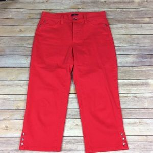 NYDJ Womens Size 6 Ariel Crop Red Jeans